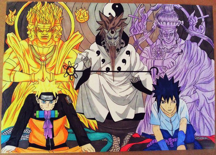 Naruto and Sasuke with the Sage of the Six Paths