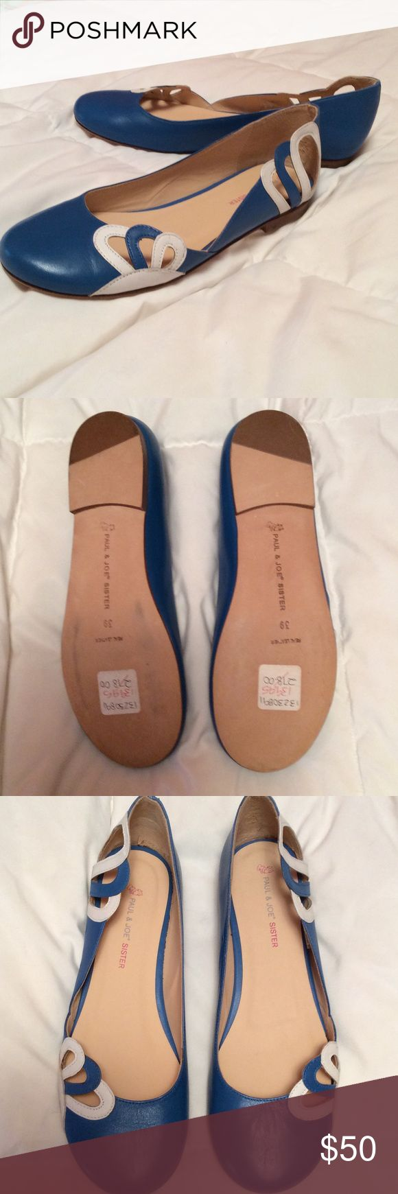 Beautiful brand new summer flats Royal blue and white Paul & Joe Sister flats. Mint condition-never been worn. Soft leather with white details on the sides. So cute for summer! Size 39 (9) but I'd say they run small. Paul & Joe Shoes Flats & Loafers