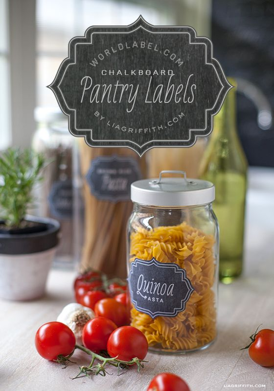 Vintage Chalkboard Pantry Labels [Not vintage but old-fashioned; not chalkboard but reminiscent of chalk on a blackboard. The inaccurate description doesn't make them like them any less — bk]