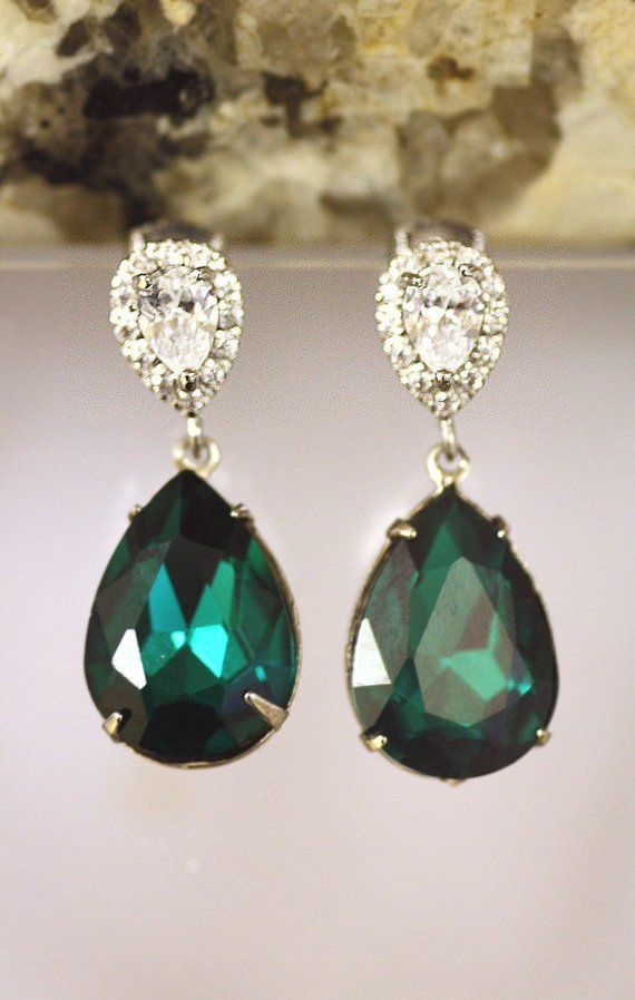Green//Clear DROP Statement Earrings • Wedding Gift Party present BIRTHDAY GLAM