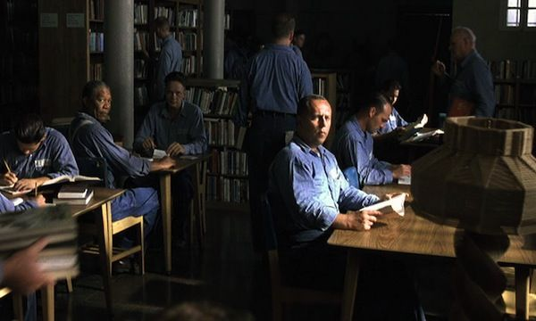shawshank redemption library scene - 'Some combination of ambiance, seclusion, hidden knowledge, and the sheer beauty of shelves upon shelves of books make libraries a fantastic film setting'. 16 Great Library Scenes in Film | Book Recommendations and Reviews | BOOK RIOT
