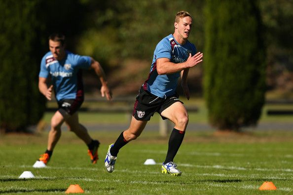 Daly Cherry-Evans of the Sea Eagles runs during a Manly Sea Eagles NRL training session at the Sydney Academy of Sport on May 17, 2013 in Sydney, Australia.