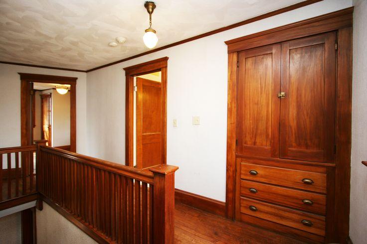 Waltham Massachusetts Bungalow Second Floor With Built In Linen Closet Original Unpainted Gum