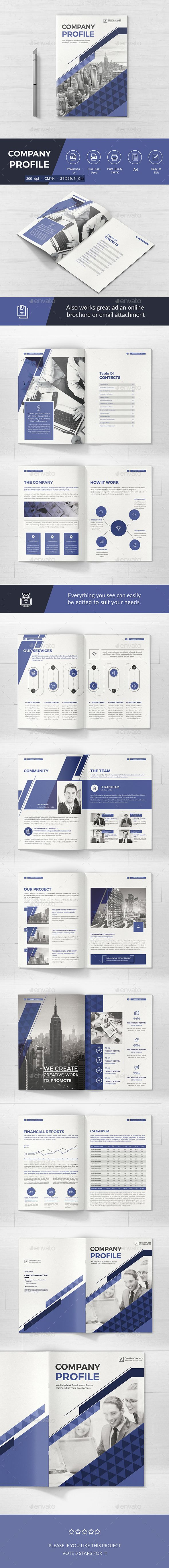 Company Brochure by mondoo Company Profile template Professional, clean and modern 16 page Company Profile. Just drop in your own pictures and texts, and it
