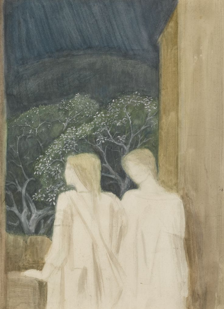 Sir Edward Coley Burne-Jones, Bt., A.R.A., R.W.S. 1833-1898 STUDY FOR THE LAST SLEEP OF ARTHUR IN AVALON watercolour with bodycolour 36 by 27cm., 14 by 10½in.