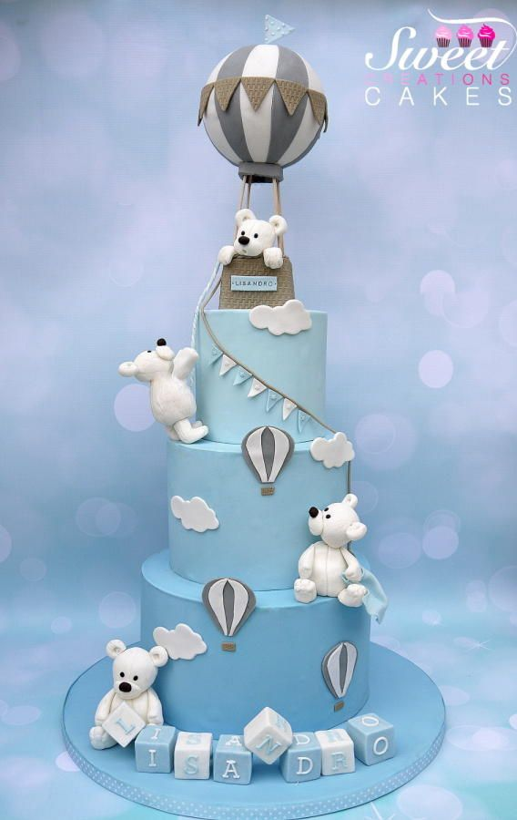 Bears Hot air balloon Baptism cake - Cake by Sweet Creations Cakes