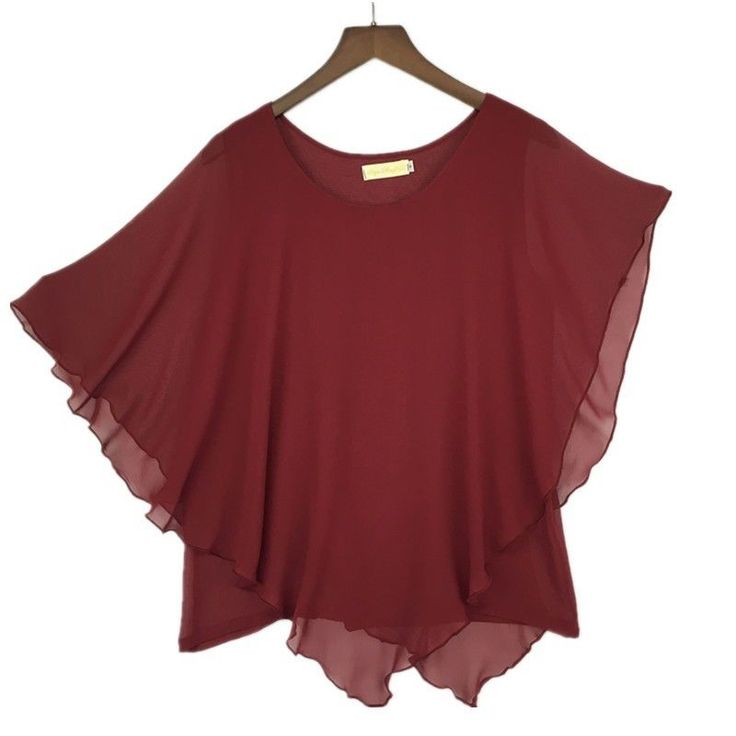 Plus size S-6XL Ladies Chiffon Blouses Shirt Batwing Asymmetric Sleeves Dark Red #Unbranded #Blouse #Casual