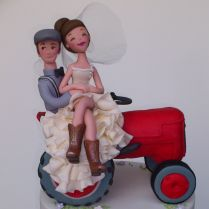 Tractor Bride And Groom Topper On Farm Inspired Wedding Cake All Made From
