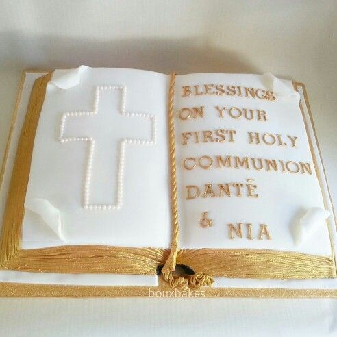 Open Book Gold and White Holy Communion Cake