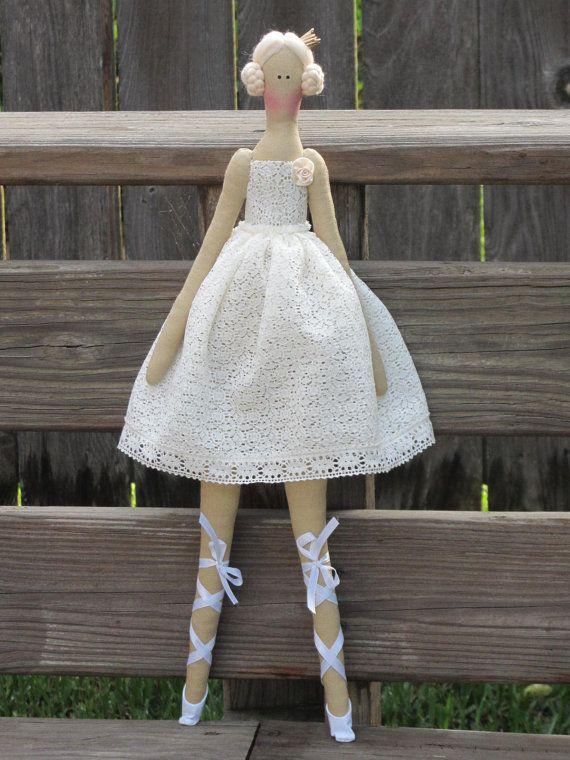 Fabric doll white ivory ballerina doll by HappyDollsByLesya