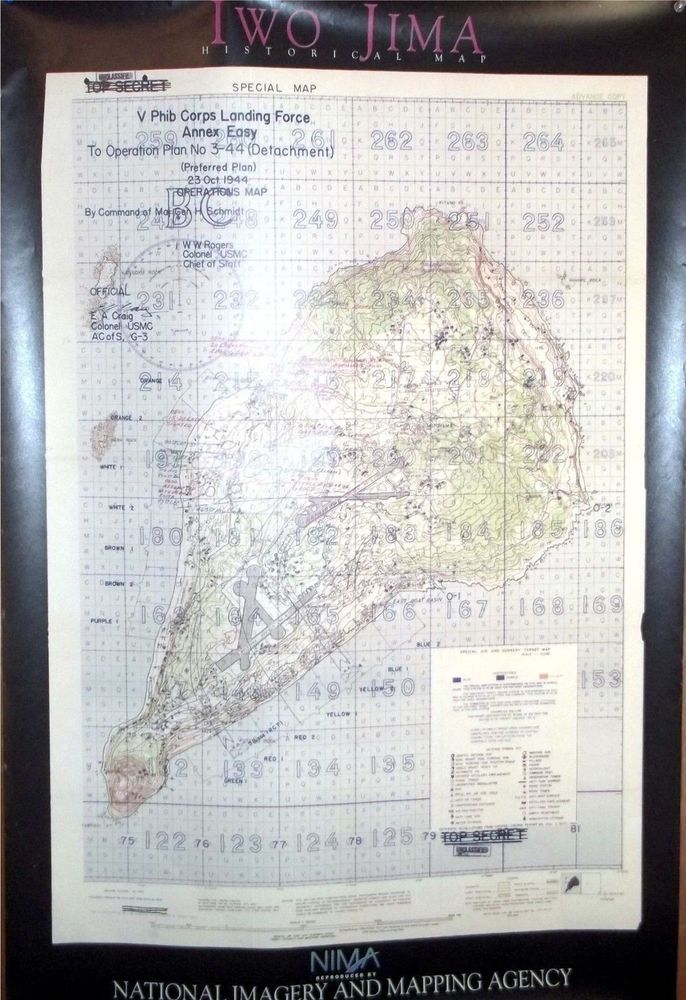 World War 2 Iow Jima Poster Map Reprint By National Imaging And Mapping Agency