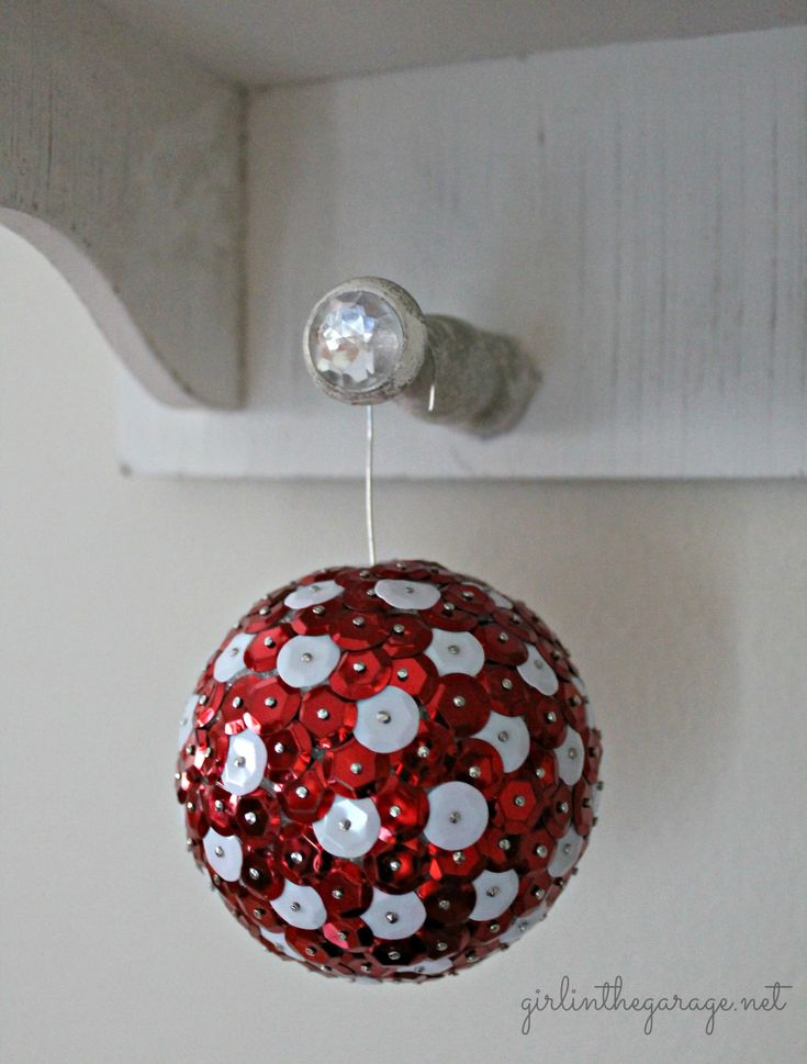 Sequin and Tack Christmas Ornaments by Girl in the Garage for Live Creatively Inspired