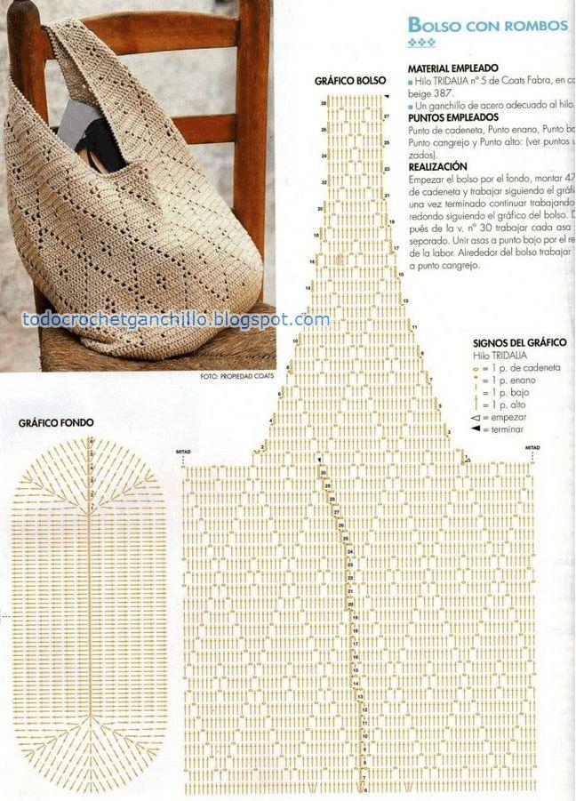 Cómo tejer bolso punto rombos al crochet - patron y video | Todo crochet
