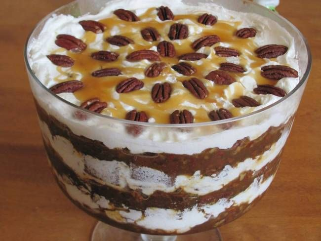 Turtle Trifle- pecans, caramel, chocolate, and brownies