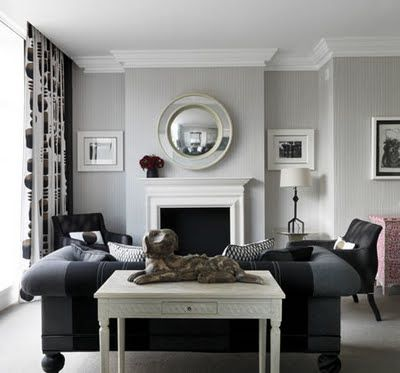 black & white + grey interior by Kit Kemp.