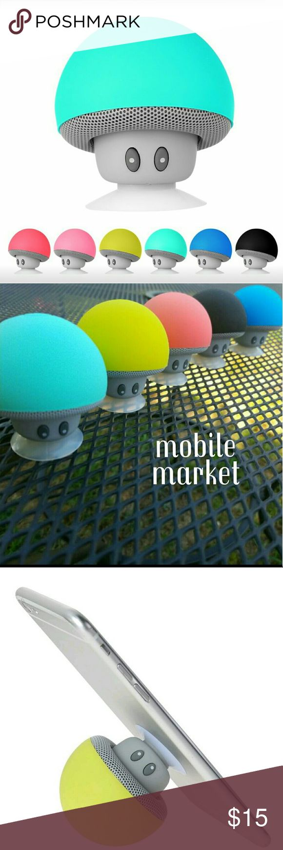 Shroom Bluetooth speaker Stick to the back of your phone, your car dash, or your bathroom mirror with the suction cup on the bottom! This mini wireless mushroom speaker comes with a built in Li-ion battery and high quality amplified sound! 2.5 hours playback time. Mobile market  Colors in order from cover photo: peachy pink, pink, green, turquoise, blue, and black  *control volume with your phone and the speaker! *go back or skip tracks with the press of a button  Includes: 1 speaker, 1…