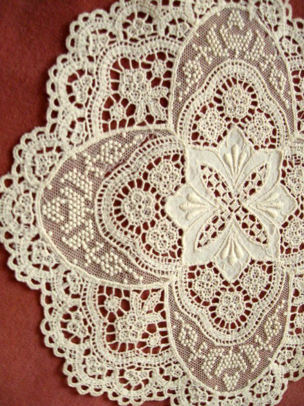 Shabby Vintage Chemical Lace Doilies Floral Embroidered Linen Net