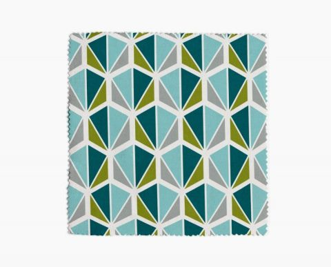 Tissu ameublement Facettes Bleu, gris, vert