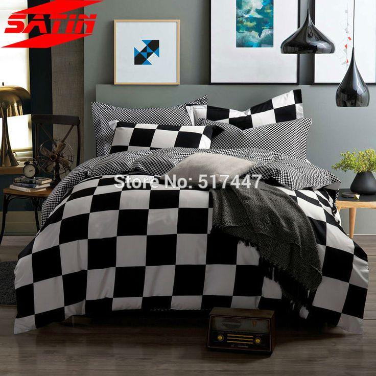 Роскошные моды белый и черный плед король королева размер постельных принадлежностей набор 4 шт. кровать одеяло пододеяльник хлопок 800TC простыни постельное белье листов