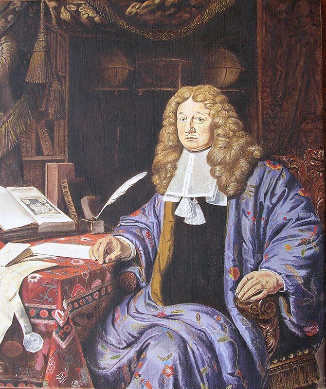 Schilderij portret - Ferry Reijnders - Johannes Hudde, burgemeester van Amsterdam - Olieverf op doek - 50 x 60 cm. -