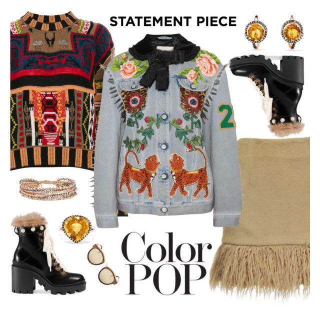 """""""Go Bold: Statement Coats"""" by karen-galves ❤ liked on Polyvore featuring Jovonna, Etro, Gucci, Effy Jewelry, Chan Luu, Le Specs and statementcoats"""