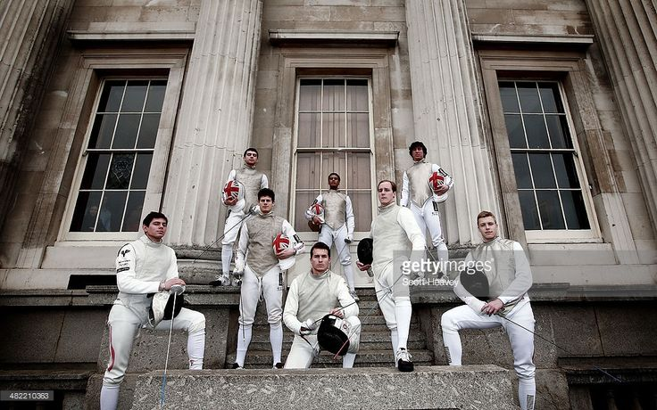 British Fencers Marcus Mepstead, Alex Tofalides, Richard Kruse and James Davis with Austrian fencers Mario Langer, Dominc Wohlgemuth, Johannes Poscharnig and Rene Pranz ahead of the Beazley International Fencing Challenge match between Great Britain and Austria men's foil teams at Fishmongers Hall on April 3, 2014 in London, England.