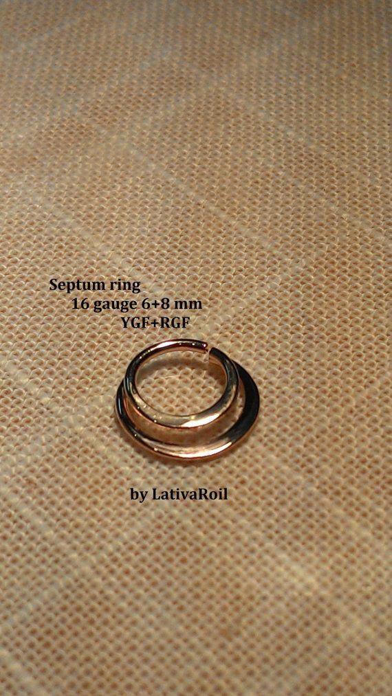 Anillo de oro tabique anillo de la nariz de oro 22g 20g