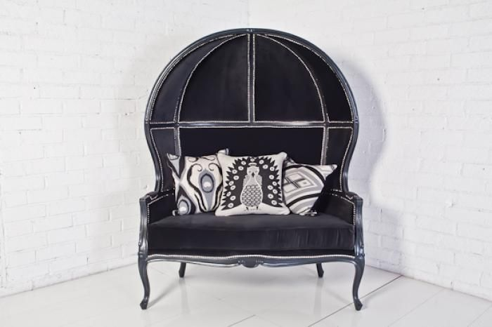 "balloon chair loveseat in charcoal velvet  52"" long x 67"" High x 31""   deep seat height is 20""   $1995.00"