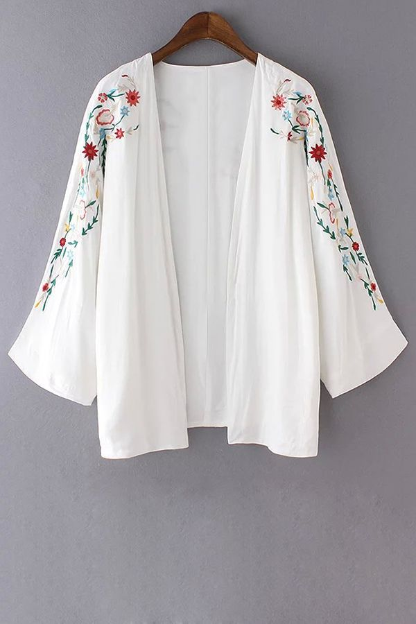 Retro Floral Embroidery Long Sleeve Blouse