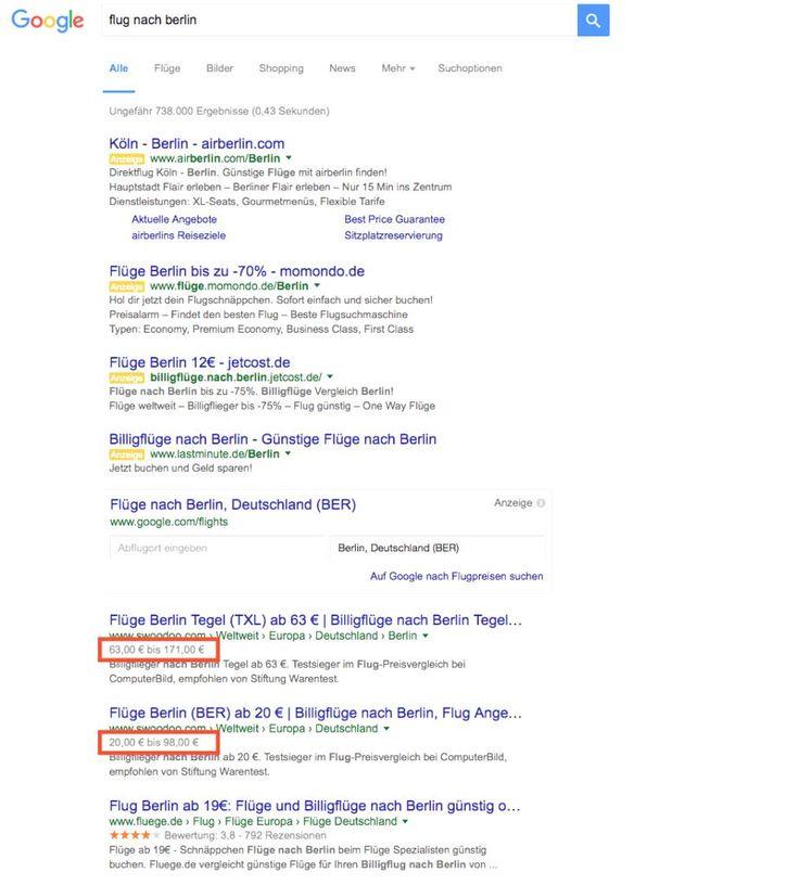 """Verwirrende Preisangaben: Google entfernt Preis-Rich Snippets bei Reise-Suchanfragen  Sucht ihr manchmal über die Google Suche nach Flügen? Sind Euch bei der Flugsuche dann schon einmal die Preis-Rich-Snippets aufgefallen? Sozeigt der Anbieter """"Swoodoo"""" bei der Suchanfrage """"Flug nach Berlin"""" einen Preisrahmen an, für die man als Kunde ein Flugticket nach Berlin kaufen kann:       Allerdings ist dieser Preisrahmen sehr ungenau, da es unzählige Möglichkeiten gibt (verschiedene Flugges.."""