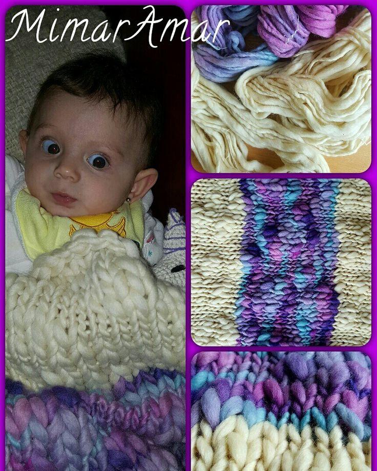 Mantita para Bebé en lana Bom Bom, 💝🐑🎼 Tejido a palillo, Dos agujas MimarAmar.
