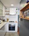 Estudio perimetro cocina mueble enchapado formica blanca cubierta cuarzo marfil piso porcelanato hormigon muro ceramicas metro liverpool campana bajo respisa madera gris rebaje