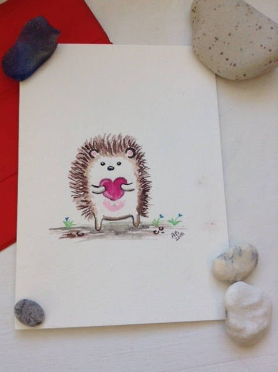 hedgehog cute hedgehog valentine PRINTED kids valentine school exchange valentine cards personalized woodland Valentine/'s Day cards