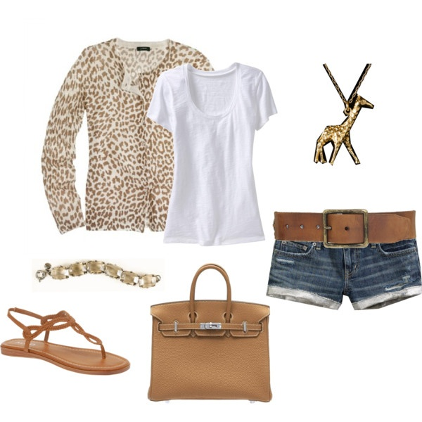 Tan, J.Crew, Birkin Bag but MUCH longer shorts... or maybe jeans