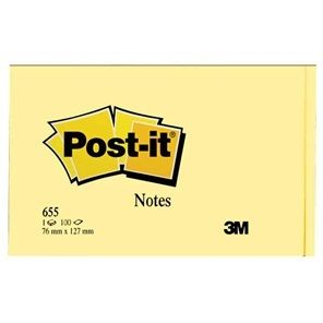 3m Post-it Note 655 73x123mm Yellow Each