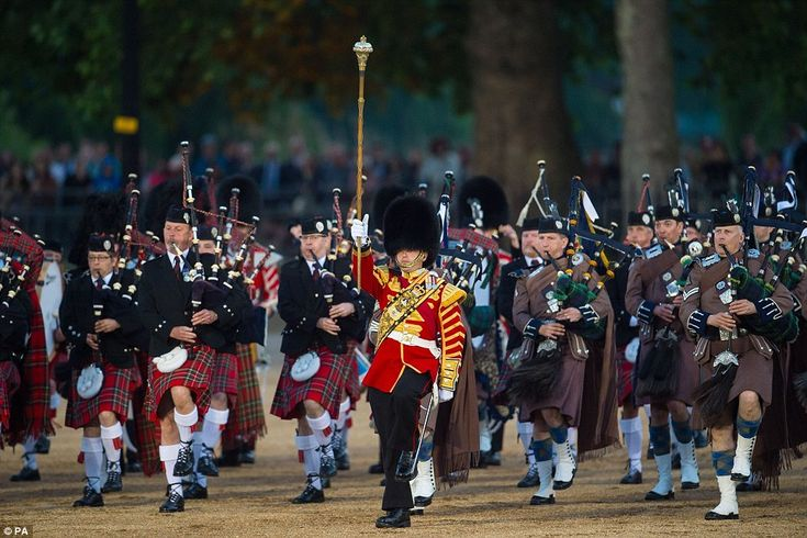 Rehearsal: The Massed Bands of the Household Division during the Beating Retreat ceremony at Horse Guards Parade