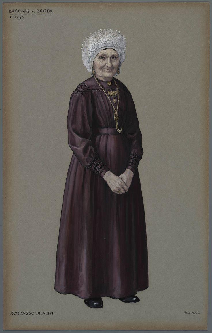 Baronie van Breda, ca. 1910. Zondagse dracht.