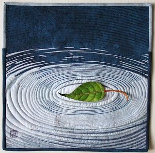 Beautifully rendered leaf echo on water accomplished with fabric Janice Stevens, Silence
