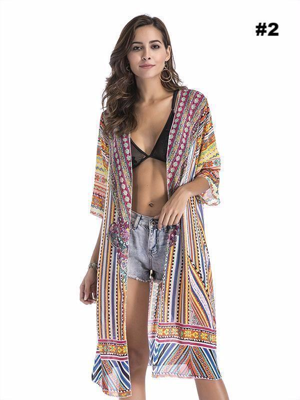 Glorious Womens Cover Up Beach Chiffon Summer Beachwear Swimwear Outwear Fashion Cardigan Blouses & Shirts