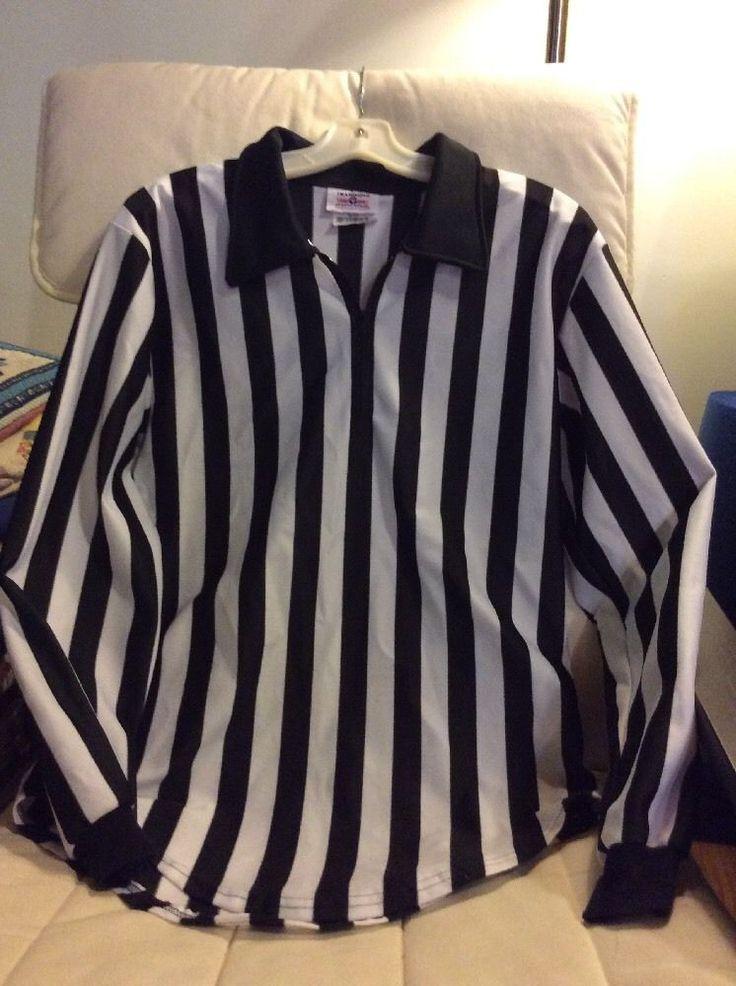 Referee Shirt Teamwork Athletic Apparel Uniform Black White Long Sleeve M 38-40 #TeamworkAthleticApparal #ShirtsTops