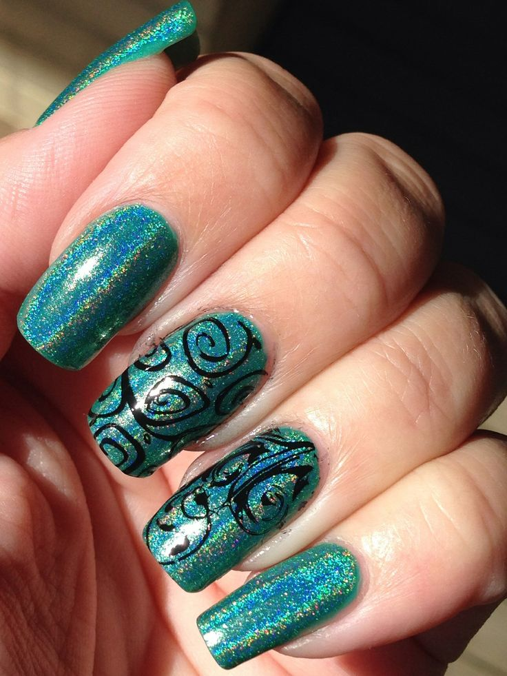 Holo polish and nail stamping