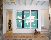 What a Wonderful World Map Print - Six 11x14 inches Prints. $90.00, via Etsy.