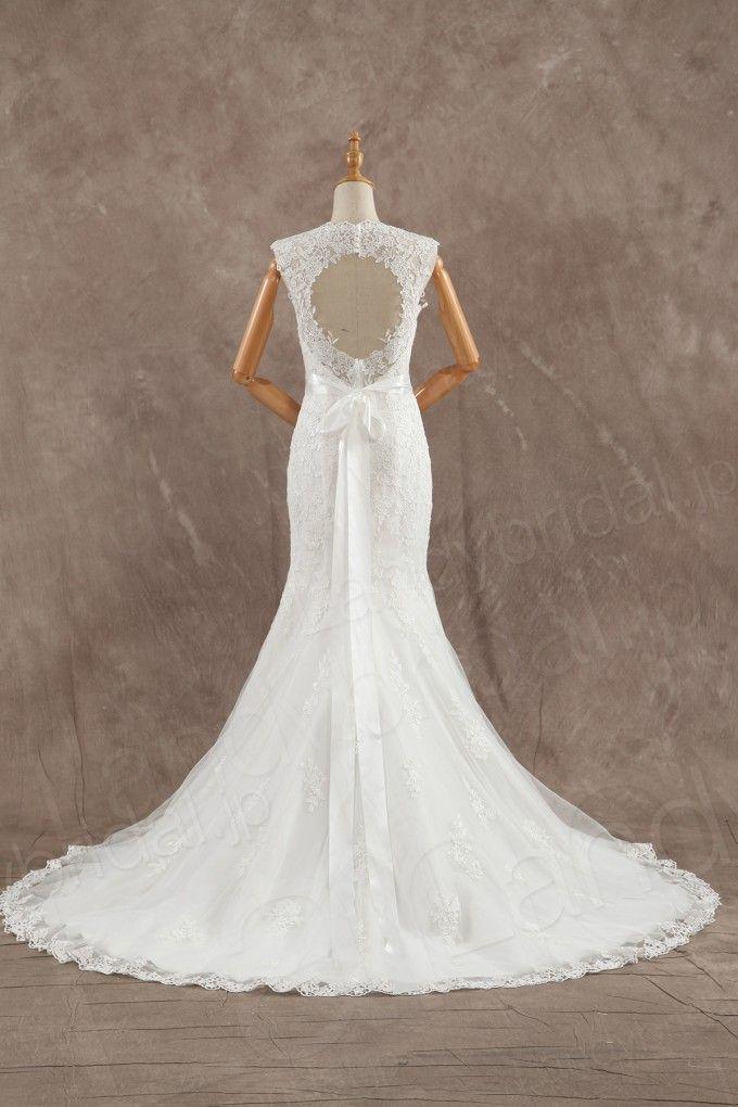 ウェディングドレス ハートネック マーメイド オープンバックのデザイン ベルト CWAF16004