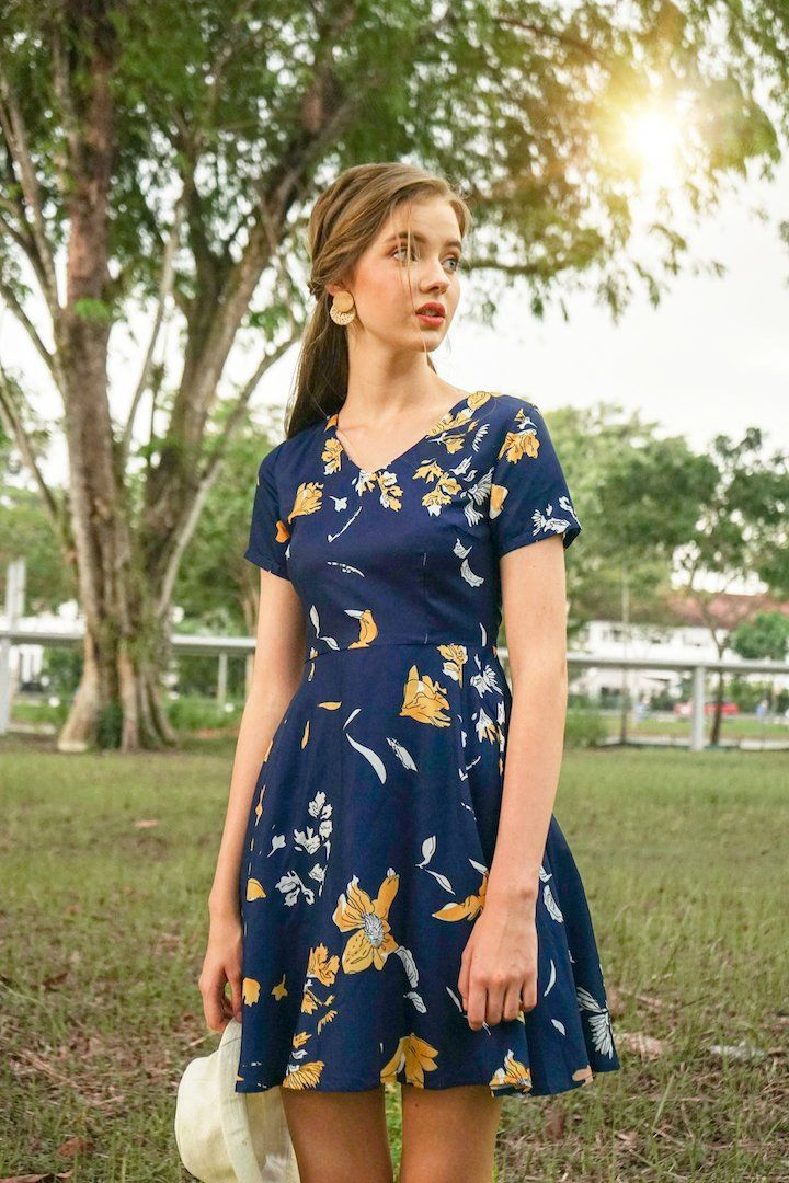 393be20a5efb Madebynm flavia sleeve floral a-line dress in navy/sunshine [xs/s/m ...