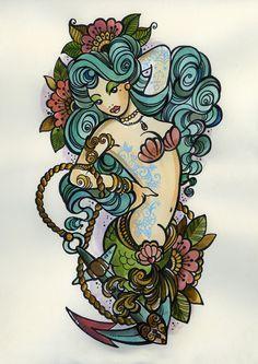 old school tattoo mermaid - Google Search