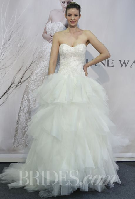 Brides.com: Jane Wang - Spring 2014. Strapless ball gown wedding dress with layered tulle skirt and beaded sweetheart bodice, Jane Wang