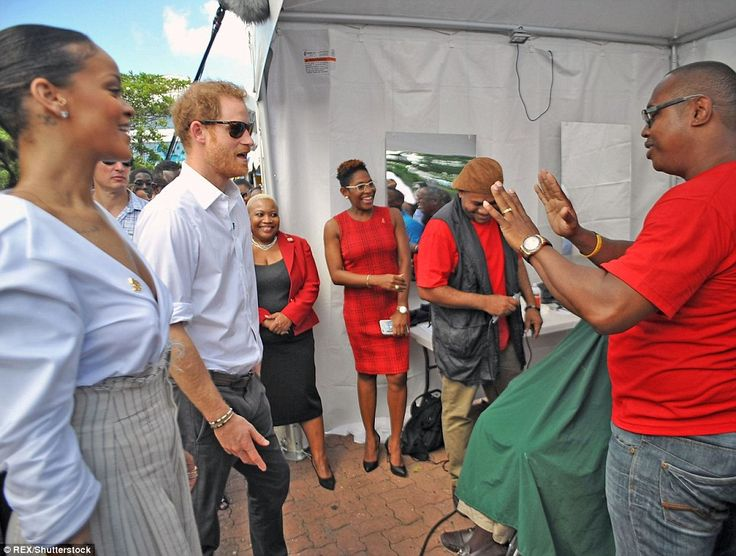 Harry and Rihanna stopped at a makeshift barber shop set up in a small marquee, where one ...