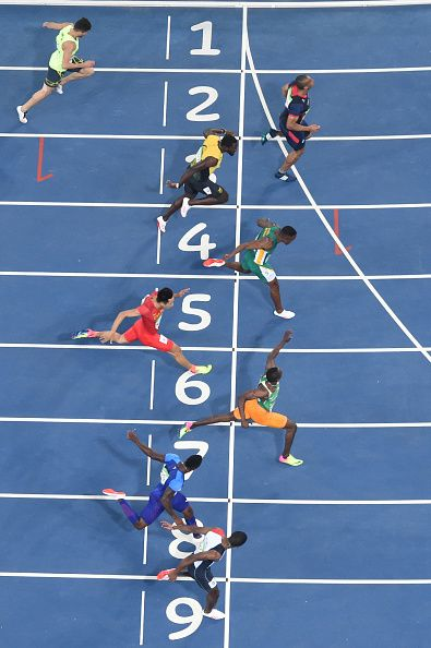 France's Jimmy Vicaut South Africa's Akani Simbine and Ivory Coast's Ben Youssef…