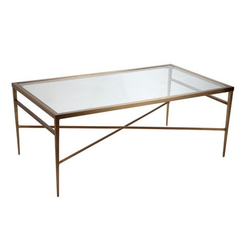 The Cannes Gold Black Glass Oval Coffee Table