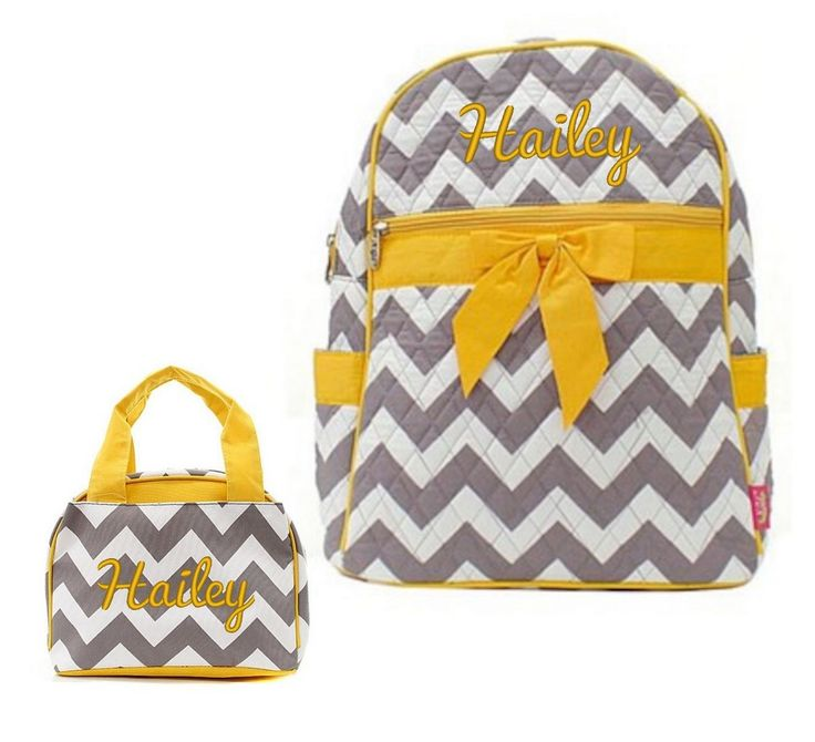"""Matching Backpack Lunch Bag Personalized Chevron Gray Yellow 15"""" Quilted Backpack"""
